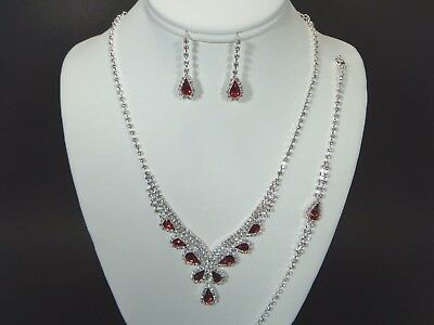 Jewelry-Set-Necklacet/Earring & Bracelet-Bridal_Fashion_Party Silver / Red