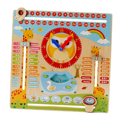 Wooden Calender Educational Weather Season Toys Clock Learning - Animal Zoo