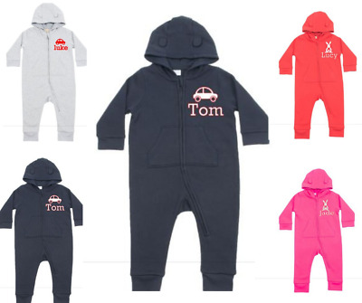 PERSONALISED Baby Grow Fleece All In One  Boys And Girls Cotton 6  24 Months