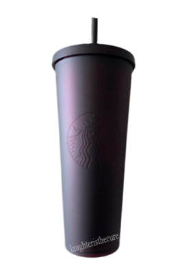 NEW Starbucks 2018 BLACK SEQUIN cold cup tumbler 24 oz SAME DAY SHIPPING