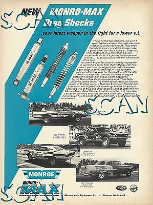 Monroe Max Drag Shock Magazine Ad 1971 Rod Shop Dodge Charger R/T & Challenger