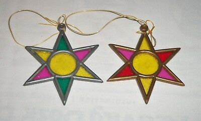 Lot 2 Vtg Stained Glass Style Plastic Star Sun Catcher Christmas Tree Ornament