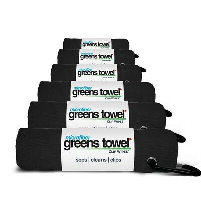 (Jet Black) - Microfiber Greens Towel (6 Pack), 41cm X 41cm with Carabiner