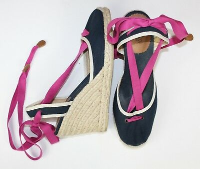 610f5179b0f J.CREW NAVY BLUE & Pink Canvas Shoes Tie Up Espadrille Platforms Wedges  Size 9