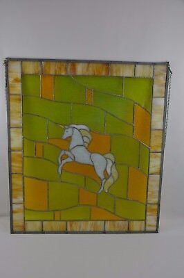 "Vintage Antique Leaded Stained-Glass Window Panel 25""x28""  White Horse"