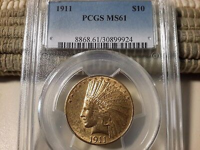 1911 $10 Gold Indian Ms 61