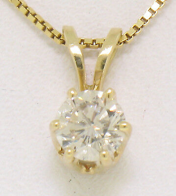 "14K Yellow Gold .35ct Diamond Solitaire Pendant w/ Matching 18"" Box Link Chain"