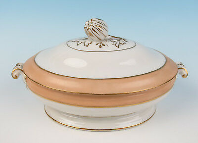 "Antique Paris Porcelain Peach & Gold Band 11.5"" TUREEN Serving Dish Old French"