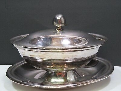 Reed & Barton Silverplate Gravy Boat with Lid Antique Covered Sauce Dish EPNS