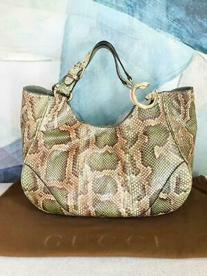 $5500 GUCCI Green Python Leather Tote Extra Large Handbag Gold HW Snap On SALE!
