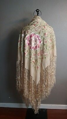 Vintage Art Deco Ivory colored Silk Ombre Embroidered Fringe Boho Piano Shawl