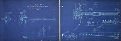 1920 Antique Blueprint Set - Industrial Art - Vintage Gears Pulley Mechanical