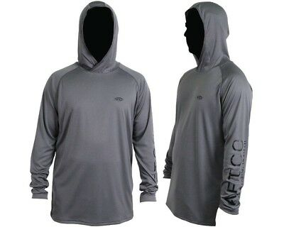 (Small, Charcoal) - AFTCO Samurai Hooded Performance Long Sleeve Shirt