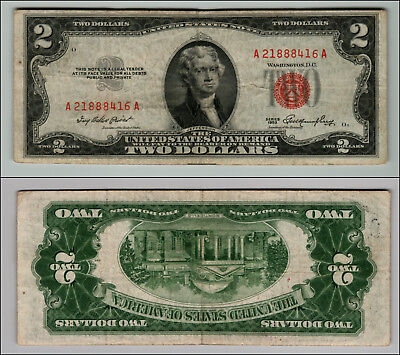 1953 $2 Dollar Bill Old Us Note Legal Tender Paper Money Currency Red Seal P121