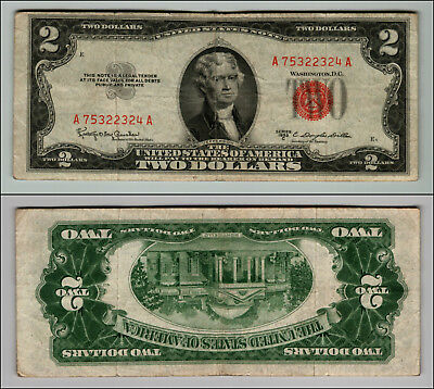 1953C $2 Dollar Bill Old Us Note Legal Tender Paper Money Currency Red Seal P576