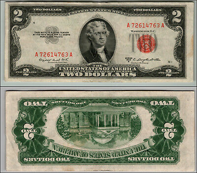 1953B $2 Dollar Bill Old Us Note Legal Tender Paper Money Currency Red Seal J309