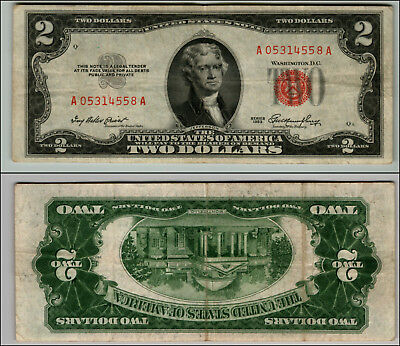 1953 $2 Dollar Bill Old Us Note Legal Tender Paper Money Currency Red Seal #j823