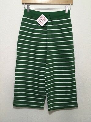 NWT ✅ HANNA ANDERSSON STRIPE LONG SHORTS, COPPED BERMUDAS 160 14 ~ Green & White