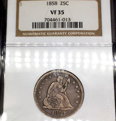 1858-P VF35 Seated Liberty Quarter 25c graded by NGC as Very Fine!!