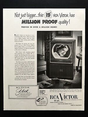 1950 Vintage Print Ad RCA Victor TV Television Million Proof Home Entertainment