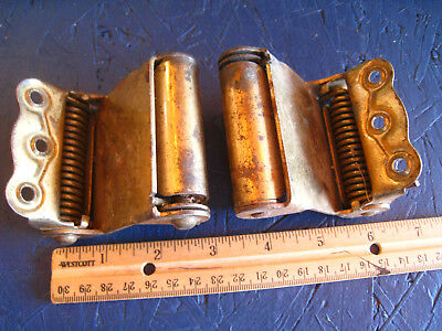 """Hinges Vntg BRASS heavy duty Large Spring Loaded double action 3.5"""""""