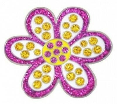 (Purple/Yellow) - Navika Daisy Purple Glitzy Golf Ball Marker With Hat Clip