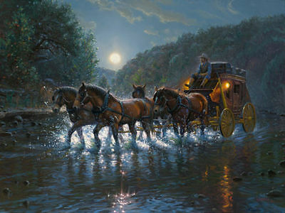 Home Decor Quality Art Canvas Print, Oil Painting Texas Highway Horse 12x16