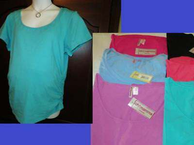 MATERNITY Top Tee T-Shirt Plus Size Side Ruched *COLORS* NWT NEW