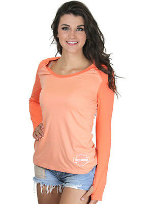 Harley-Davidson Womens Back Keyhole Orange Long Sleeve Synthetic T-Shirt