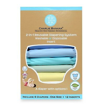 Charlie Banana 6 Diapers 12 Reusable Inserts Unisex Pastel One Size Hybrid