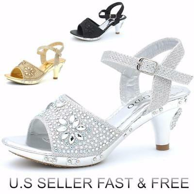 Girls' Party Flower Pageant Buckle Sandals Dress Shoes Low Heel Rhinestones
