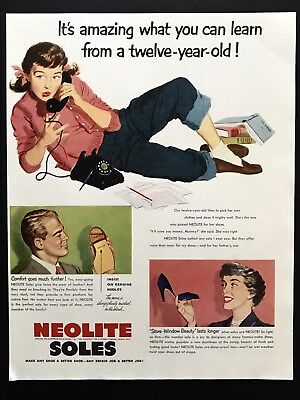 1950 Vintage Print Ad NEOLITE SOLES Shoe Foot Fashion Girl On Phone Art