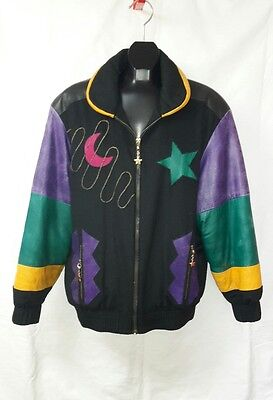Louis Feraud Vtg Ladies Bomber Style Multi Color Leather/Wool Jacket Sz US 8