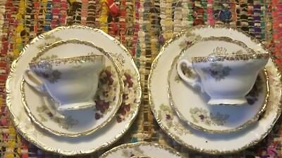 Vintage Fine China Victorian style Violet Gold rim Tea cup and Saucer Lot