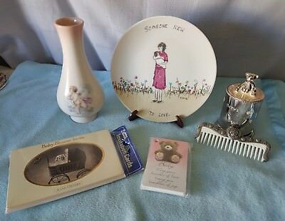 Vintage Baby Girl Collection X6 Items.  Aust Pottery Vase, Silverpl Money Box+++