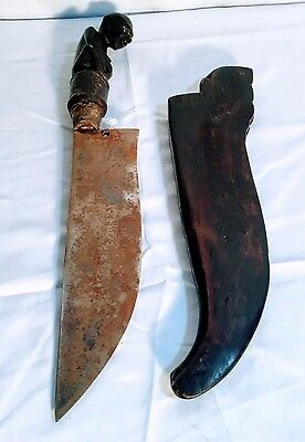 ANTIQUE INDONESIAN KRIS; Early 20th Century; Carved wood handle and sheath!