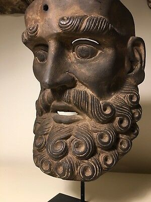 Vintage, Decorative, Intricate Bearded Mask w/Stand from Geurro Mexico ca1970