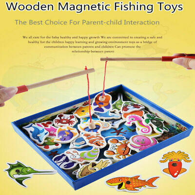 Wooden Toys Childrens Fishing Game Magnetic Fishing Angler Puzzle Game Toy Gifts
