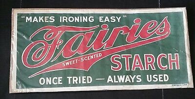 Fairies Starch Ironing Made Easy Oil Cloth Original Advertising Sign