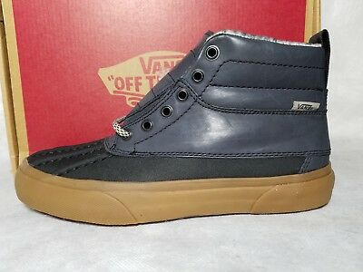 New Vans SK8-Hi Del Pato MTE Leather Blue Black Feather Gum Boot Shoe Men 1170d138f