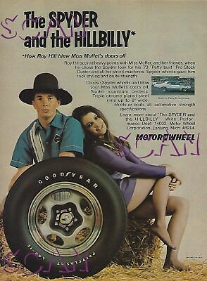 1973 Motor Wheel Spyder Vintage Magazine Ad Roy Hill Plymouth Duster Miss Muffet