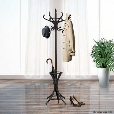 NEW 12 Hooks Tree Style Hat Scarves Coat Stand Walnut w/ Base Ring for Umbrellas