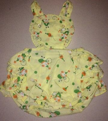 Vintage Baby Girl Ruffle Bottom Bubble Romper 1950's Party Clown 1st birthday