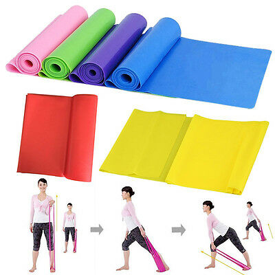 1.5m Elastic Yoga Pilates Rubber Stretch Resistance Exercise Fitness Band bs