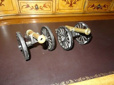 A PAIR OF ANTIQUE BRASS & CAST IRON CANNONS for Decoration or Military Dioramas