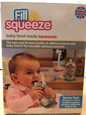 Fill n Squeeze Starter Pack Pouch Filler and Squeezee pouches Baby Feeding New
