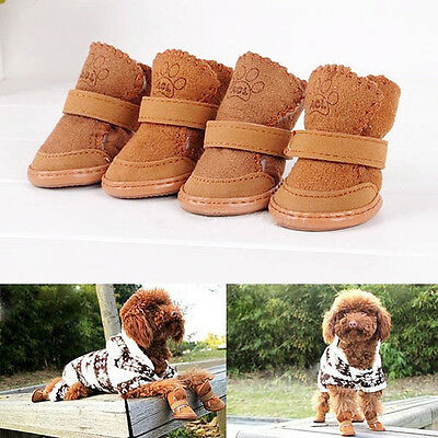 Winter Small Dog Boots Anti-Slip Puppy Shoes Pet Protective Snow Booties bs