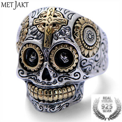 925 Sterling Silver Skull Ring and Gold Cross for Vintage Punk Rock Men Jewelry