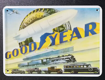 GOOD YEAR retro Werbung - Blech Postkarte ca. 10x15 cm Embalit