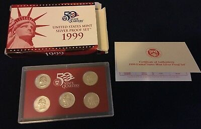 1999 US Mint Silver Partial Proof Set state Quarters -with box, COA, & quarters.